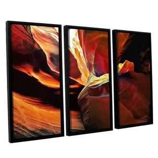 ArtWall Linda Parker 'Slot Canyon Light From Above 2' 3 Piece Floater Framed Canvas Set