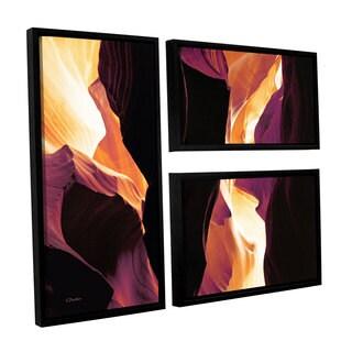 ArtWall Linda Parker 'Slot Canyon Light From Above 1' 3 Piece Floater Framed Canvas Flag Set