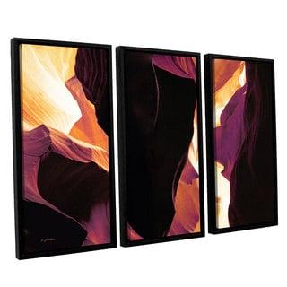 ArtWall Linda Parker 'Slot Canyon Light From Above 1' 3 Piece Floater Framed Canvas Set