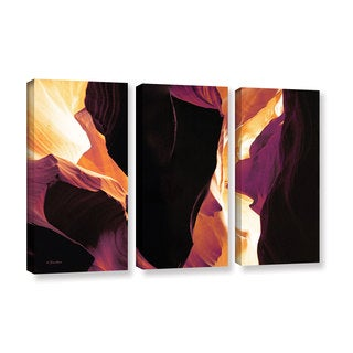 ArtWall Linda Parker 'Slot Canyon Light From Above 1' 3 Piece Gallery-wrapped Canvas Set