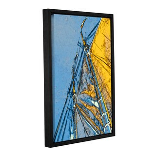 ArtWall Linda Parker 'Yellow Sails At Sea' Gallery-wrapped Floater-framed Canvas