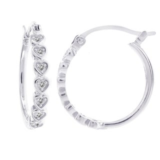 H Star 14k White Gold Diamond Accent Heart Hoop Earrings