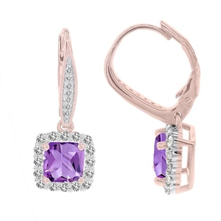 H Star 14k Rose Gold 1/2ct TDW Diamond and Amethyst Earrings (I-J, I2-I3)
