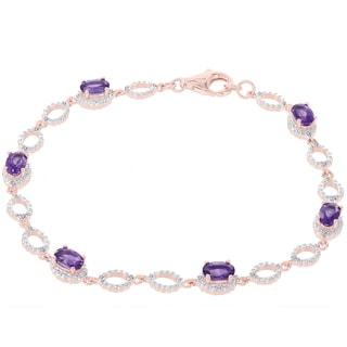 H Star 14k Rose Gold 1/5ct TDW Diamond and Amethyst Bracelet (H-I, I1-12)