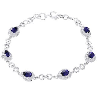 H Star 14k White Gold 1/6ct Diamond and Created Sapphire Bracelet (H-I, I1-I2)