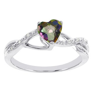 H Star Sterling Silver Mystic Fire Heart Topaz Diamond Accent Ring