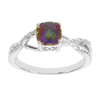 H Star Sterling Silver Mystic Fire Topaz Diamond Accent Ring