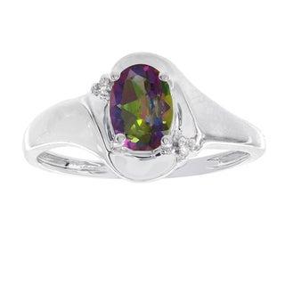 H Star 10k White Gold Oval Mystic Fire Topaz Diamond Accent Ring