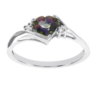 H Star 10k White Gold Heart Mystic Fire Topaz Diamond Accent Ring