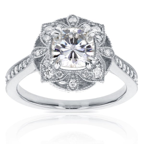 Annello by Kobelli 14k White Gold 1 1/3ct TGW Cushion Moissanite (HI) and Diamond Floral Antique Ring