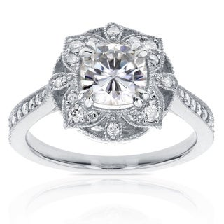 Annello by Kobelli 14k White Gold 1 1/3ct TGW Cushion Moissanite (HI) and Diamond Floral Antique Ring
