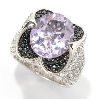 Sterling Silver 9.31ct Oval Pink Amethyst White Zircon and Black Spinel Ring