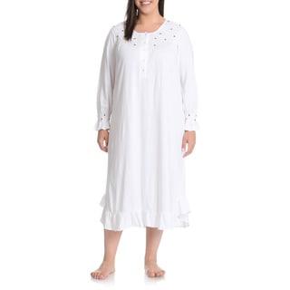 La Cera Women's Plus Size Rosette Detail Night Gown