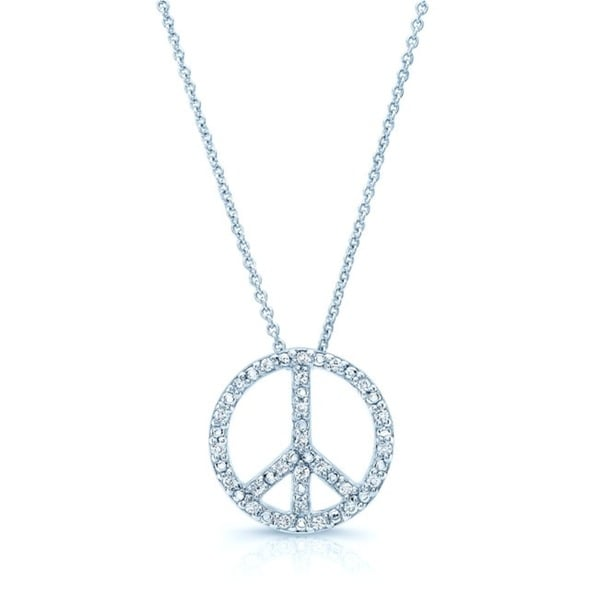 912ac2d3d82f8 Shop 18k White Gold 1 8ct TDW Diamond Peace Sign Necklace (H-I