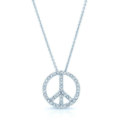 18k White Gold 1/8ct TDW Diamond Peace Sign Necklace (H-I, SI1-SI2)