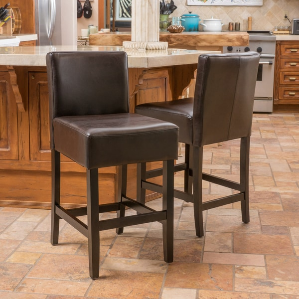 Portman 38 Inch Brown Bonded Leather Counter Stool Set Of 2 By Christopher