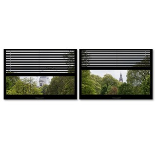 Philippe Hugonnard 'Window View London Park 3' 2 Panel Art Set