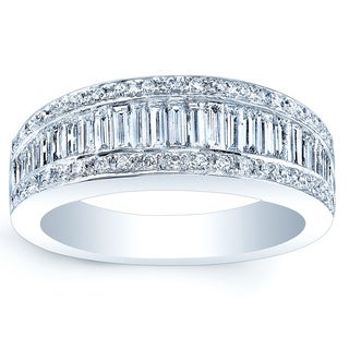 Estie G 18k White Gold 1 1/5ct TDW Baguette and Round Diamond Band