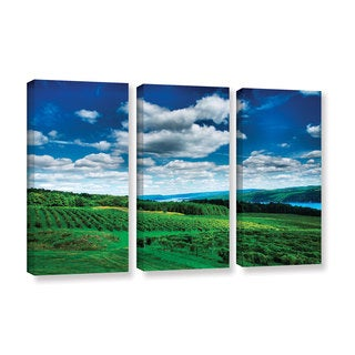 ArtWall Steve Ainsworth 'Vineyard And Lake' 3 Piece Gallery-wrapped Canvas Set