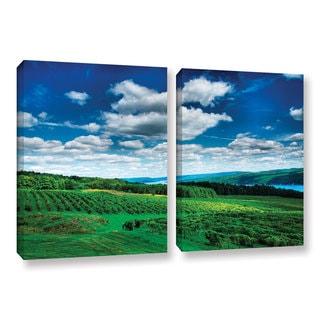 ArtWall Steve Ainsworth 'Vineyard And Lake' 2 Piece Gallery-wrapped Canvas Set