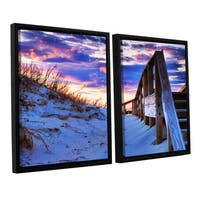 ArtWall Steve Ainsworth 'Sunset At Ocracoke' 2 Piece Floater Framed Canvas Set - Multi