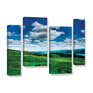 ArtWall Steve Ainsworth 'Vineyard And Lake' 4 Piece Gallery-wrapped Canvas Staggered Set