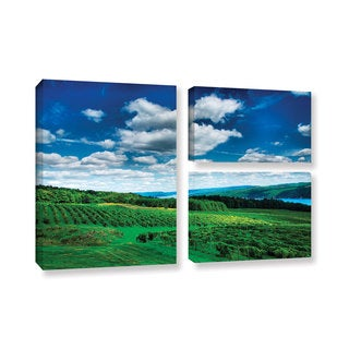 ArtWall Steve Ainsworth 'Vineyard And Lake' 3 Piece Gallery-wrapped Canvas Flag Set