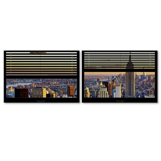 Philippe Hugonnard 'Window View NYC Sunset 3' 2 Panel Art Set