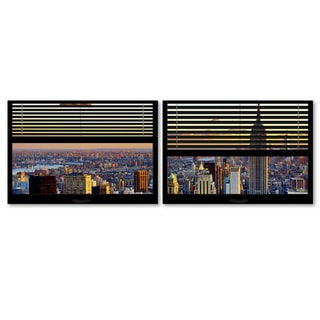 Philippe Hugonnard 'Window View NYC Sunset 4' 2 Panel Art Set