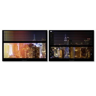 Philippe Hugonnard 'Window View Manhattan Night 3' 2 Panel Art Set