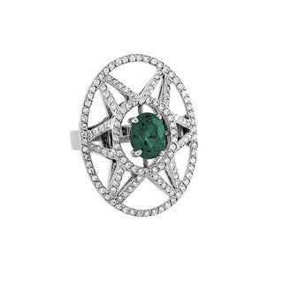 Estie G 18k White Gold Green Tourmaline and 7/8ct TDW Diamond Ring (H-I, VS1-VS2)
