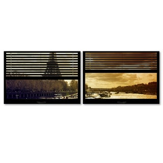 Philippe Hugonnard 'Window View Paris at Sunset 3' 2 Panel Art Set