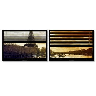 Philippe Hugonnard 'Window View Paris at Sunset 4' 2 Panel Art Set