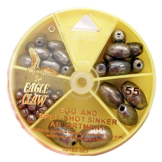 Eagle Claw Sinker Assortment Egg Sinker and Split-Shot (Per 55)
