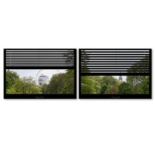 Philippe Hugonnard 'Window View London Park 4' 2 Panel Art Set
