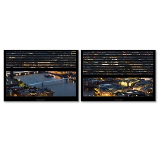 Philippe Hugonnard 'Window View London by Night 3' 2 Panel Art Set
