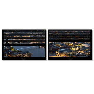 Philippe Hugonnard 'Window View London by Night 4' 2 Panel Art Set