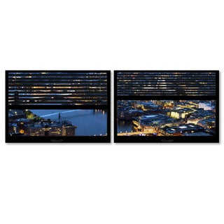Philippe Hugonnard 'Window View London by Night 8' 2 Panel Art Set