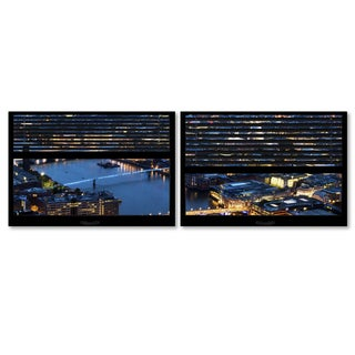 Philippe Hugonnard 'Window View London by Night 9' 2 Panel Art Set