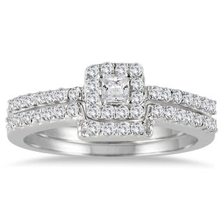 Marquee Jewels 10k White Gold 1/2ct TDW Diamond Halo Square Setting Bridal Ring Set