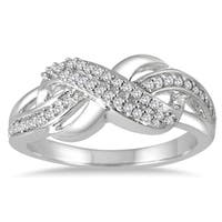 Marquee Jewels 10k White Gold 1/5ct TDW Diamond Infinity Ring