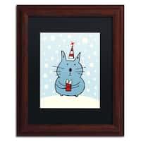 Carla Martell 'Christmas Snow Cat' Black Matte, Wood Framed Wall Art