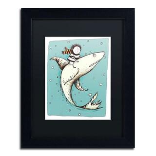 Carla Martell 'Fish Boy' Black Matte, Black Framed Wall Art