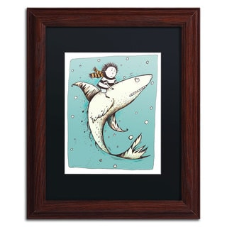 Carla Martell 'Fish Boy' Black Matte, Wood Framed Wall Art