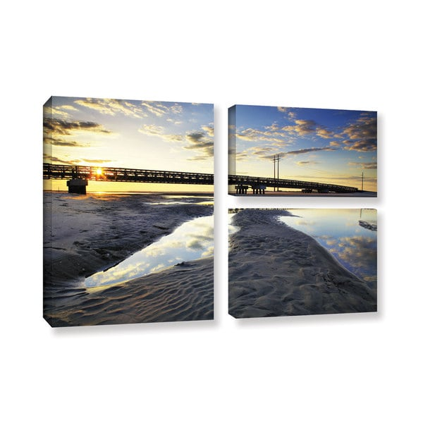 ArtWall Steve Ainsworth 'Hatteras Pools And Bridge' 3 Piece Gallery-wrapped Canvas Flag Set