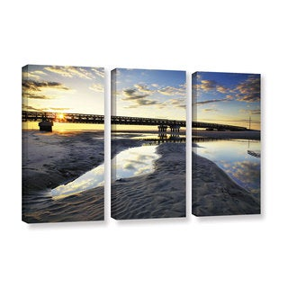 ArtWall Steve Ainsworth 'Hatteras Pools And Bridge' 3 Piece Gallery-wrapped Canvas Set