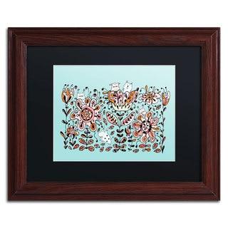 Carla Martell 'Flower Monsters' Black Matte, Wood Framed Wall Art