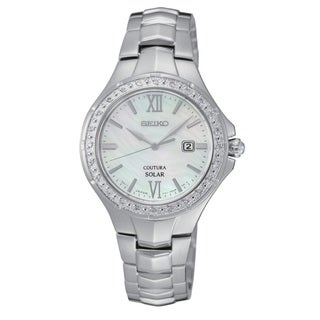 Seiko Coutura Women's Stainless Steel Solar Mother of Pearl Diamond Bezel Watch