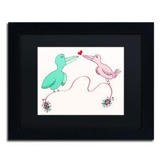 Carla Martell 'Love Birds' Black Matte, Black Framed Wall Art