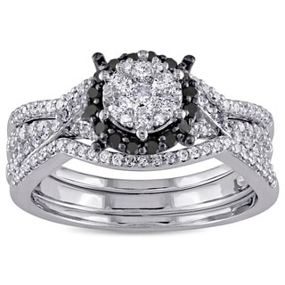 Miadora 10k White Gold 3/4ct TDW Black and White Diamond Bridal Set